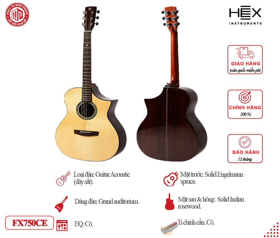 Đàn Guitar Acoustic HEX FX750CE