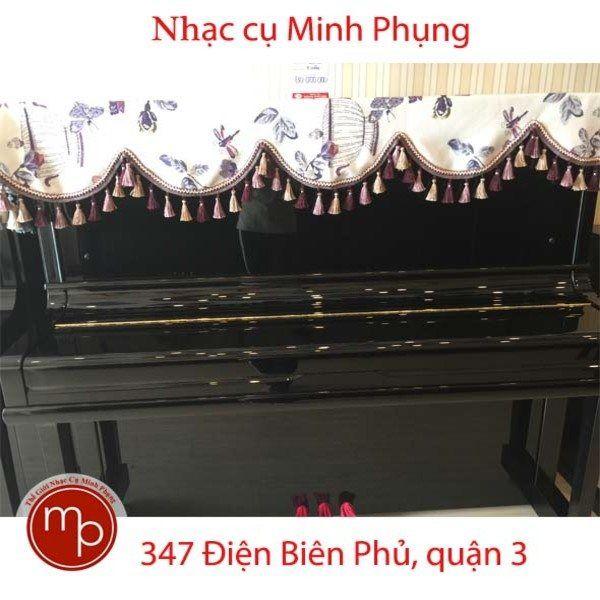 Khăn phủ đàn Piano cơ - ren tím