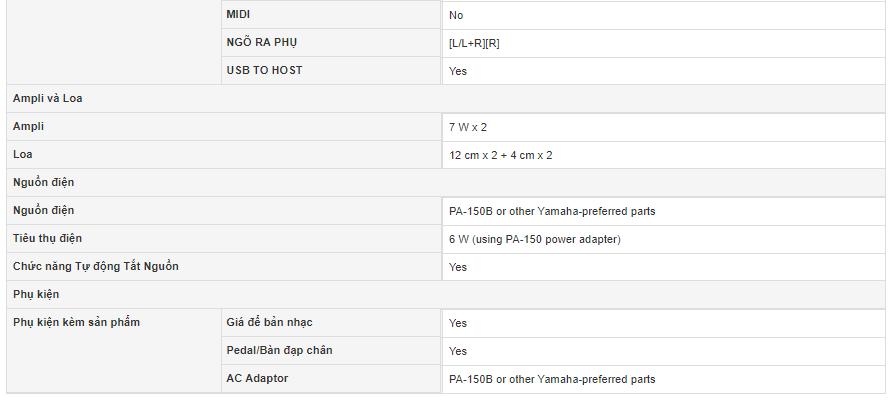 Thông số kỹ thuật đàn piano điện yamaha P115